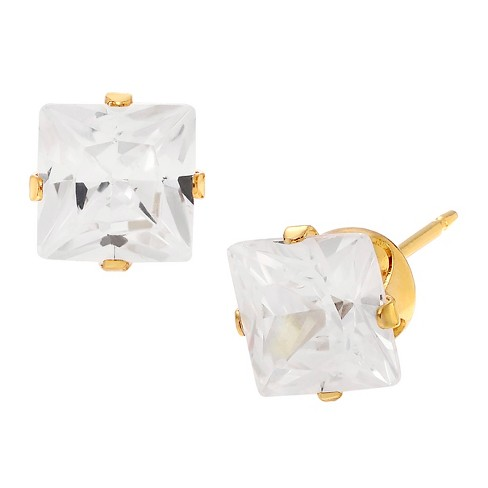2 3/5 CT. T.W. Square-cut Cubic Zirconia Stud Prong Set Earrings in Sterling Silver - Gold - image 1 of 2