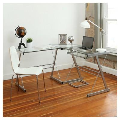 Home Office L-Shaped Corner Computer Desk - Silver - Saracina Home
