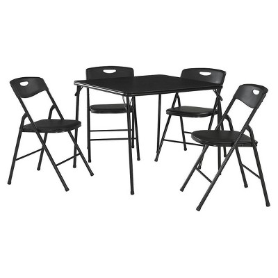 5 Piece Folding Table and Chair Set - Black - Cosco
