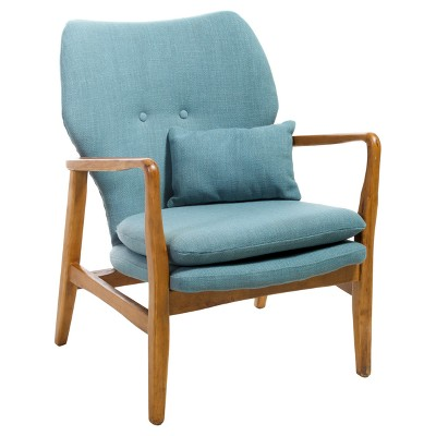 Haddie Mid Century Modern Club Chair Light Blue - Christopher Knight Home