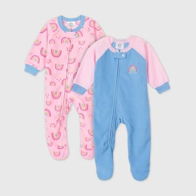 Gerber Baby Girls' 2pk Rainbow Footed Pajama - Blue 0-3M