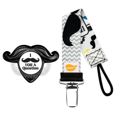 Ulubulu 1 pk Mustache Pacifier with 1 pk Mustache Pacifier Clip (0-6 Months)