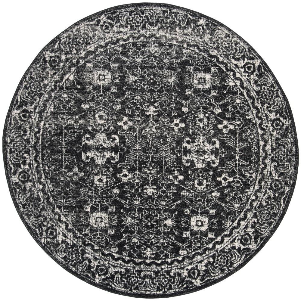6'7 Medallion Round Area Rug Charcoal/Ivory (Grey/Ivory) - Safavieh