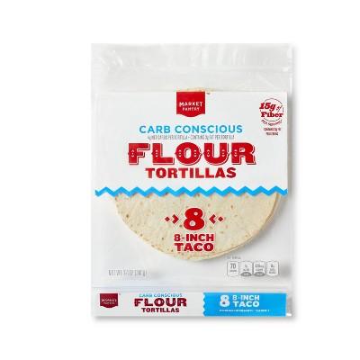 """8"""" Carb Conscious Flour Tortilla - 8ct - Market Pantry™"""