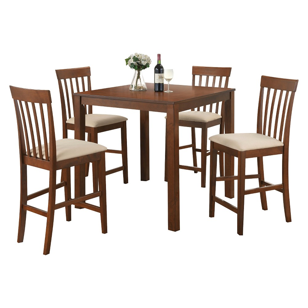 5 Piece Martha Counter Height Dining Set Wood/Country Brown - Acme, Dark Oak