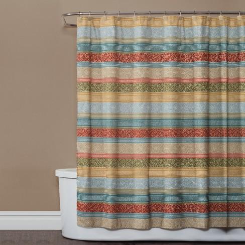 Kochi Stripe Shower Curtain Earth