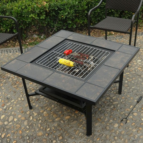 Leisurelife 4 In 1 Woodburning Firepit Coffee Table Grill Cooler