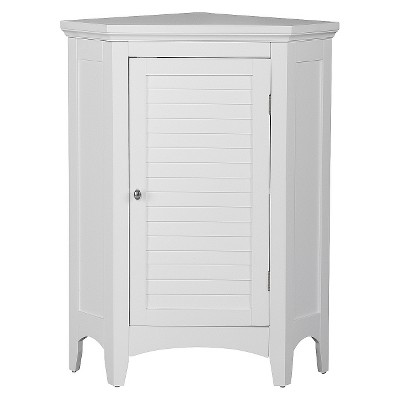 Slone Corner 1 Door Espresso Shuttered Floor Cabinet - Elegant Home Fashions