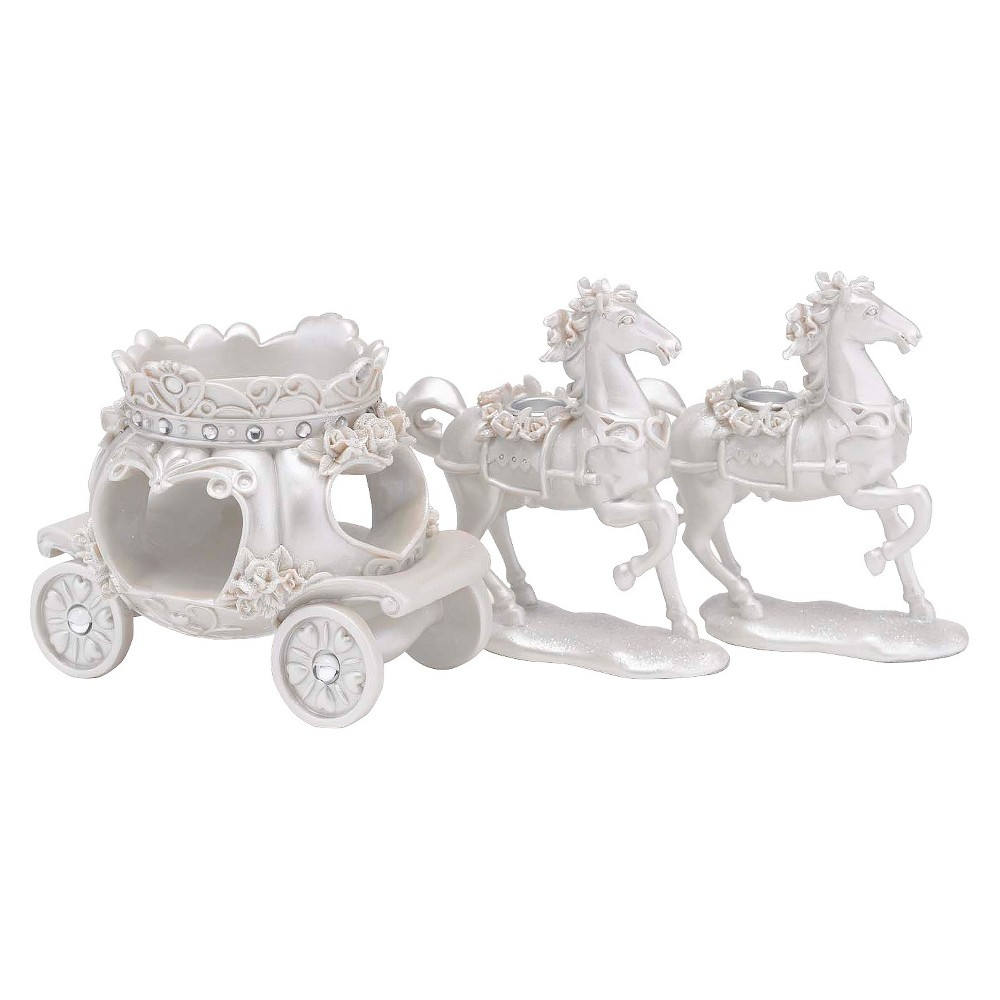 Image of Resin Horse and Carriage Candleholder Set White