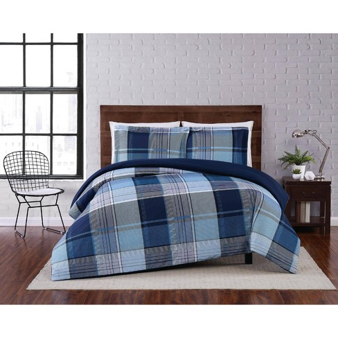Twin Xl 2pc Trey Plaid Duvet Cover Set Navy Truly Soft Target