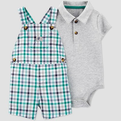 Baby Boys' 2pc Elephant Plaid Top & Bottom Set - Just One You® made by carter's Blue 9M