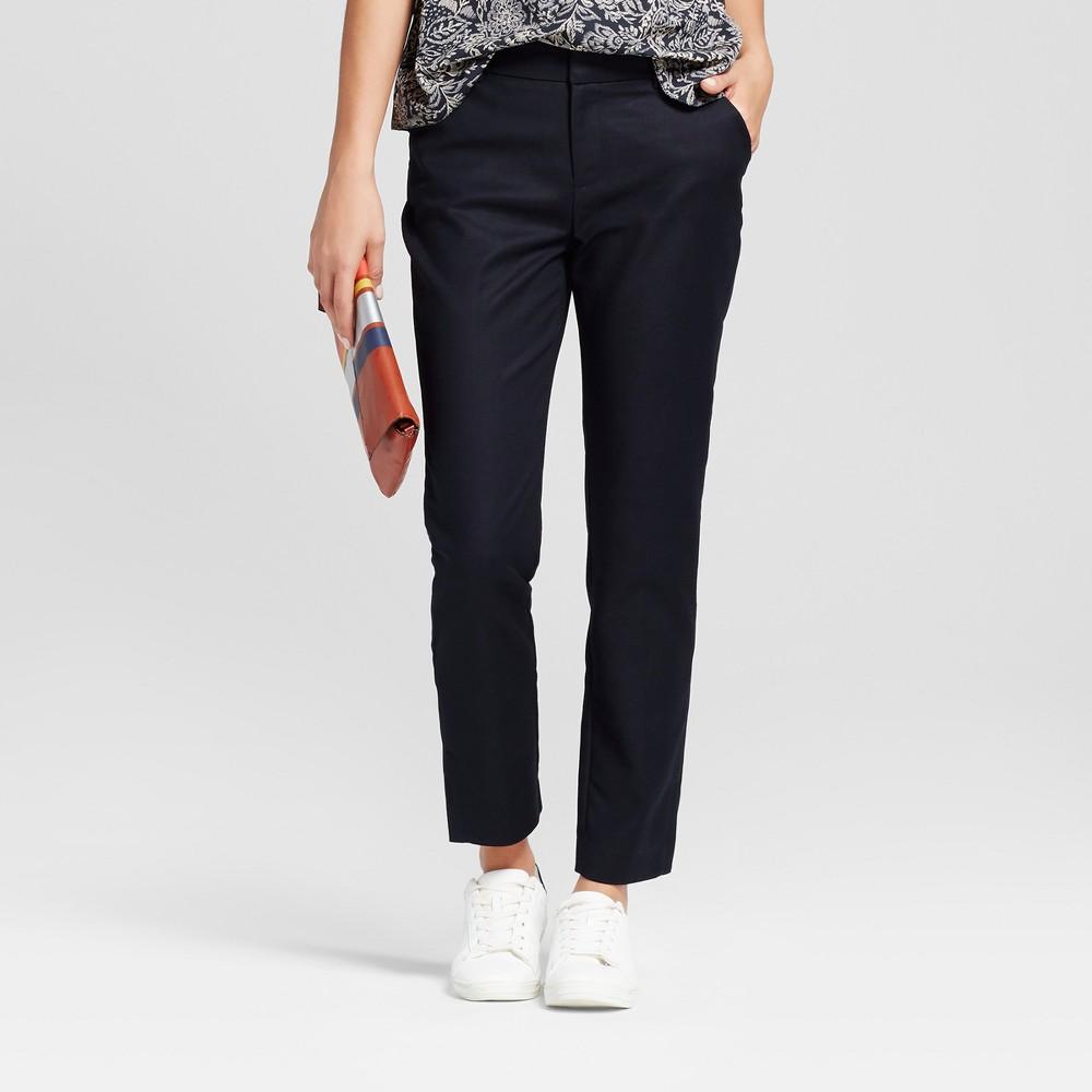 Women's Straight Leg Slim Ankle Pants - A New Day Black 0