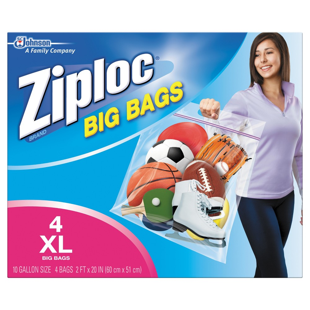 Ziploc Double Zipper Big Bags - 4ct. Get more out of the space in your home with Ziploc brand Big Bags. They're the biggest, strongest, most versatile Ziploc brand Bags ever created. Use them to store clothing, bedding, holiday decorations, sports equipment and more. No more clutter in the garage, the basement or the closet. Directions FOR Use: Fill the bag with pillows, sweaters, blankets and other items. Use the Ziploc seal to secure your items. Store, stack, or hang your Ziploc Space Bag almost anywhere! Uses: They're ideal storage solutions for practically everything. Size: Xl.