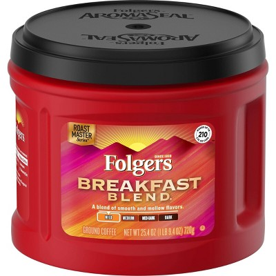 Folgers Breakfast Blend Mild Light Roast Ground Coffee - 25.4oz