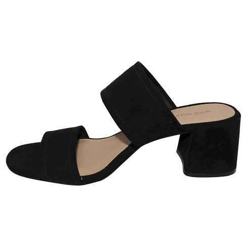 cac66e77904 Women s Carolina Double Band Block Heel Slide Sandals - Who What Wear™ Black  9