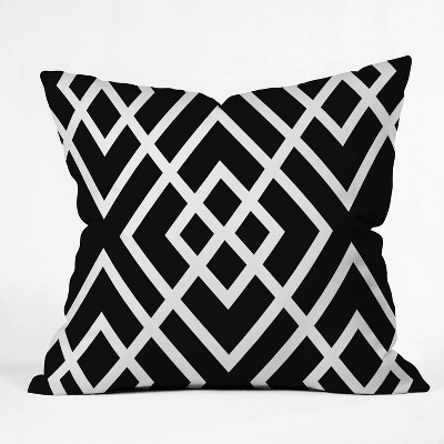 """16""""x16"""" Three Of The Possessed Inbetween Throw Pillow Black/White - Deny Designs"""