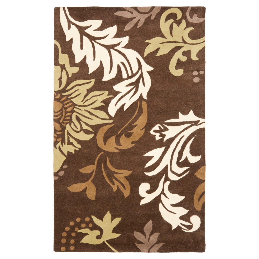 Brown Botanical Tufted Accent Rug - (3'6