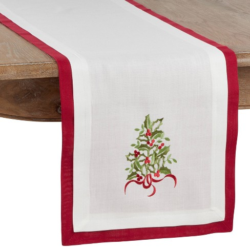 """16"""" X 72"""" Double Layer Holly Runner Red - SARO Lifestyle - image 1 of 2"""