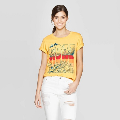 Women's Disney Toy Story Short Sleeve Hit the Road Graphic T-Shirt (Juniors') - Yellow - image 1 of 2