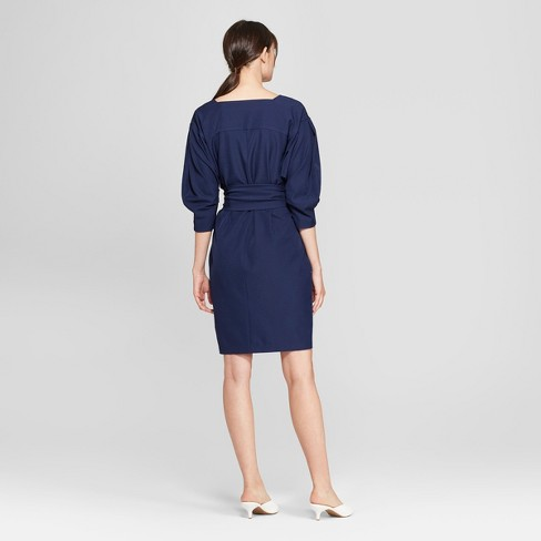 Womens 34 Sleeve Square Neck Belted Dress Prologue Navy Target