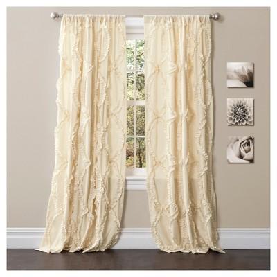 Avon Window Curtain Panel Ivory (63 x54 )- Lush Décor
