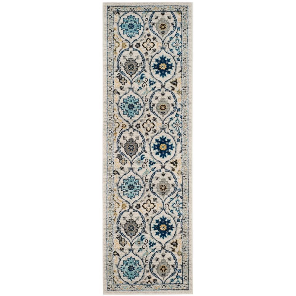 Loomed Floral Runner Rug Ivory/Blue