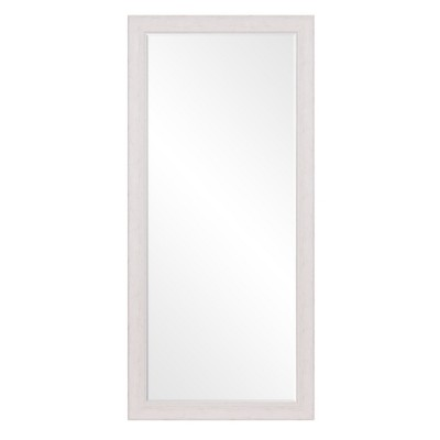 24 x58  Beveled Leaner in Classic White Washed Wood Frame Floor Mirror White - Patton Wall Decor
