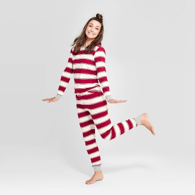 Burt's Bees Baby® Women's Holiday Rugby Striped Pajama Set   Red by Shop This Collection