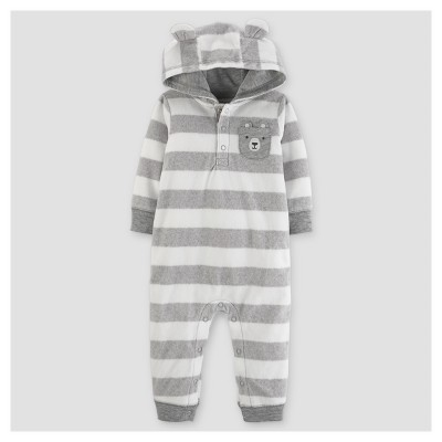 Baby Boys' Fleece Striped with Ears Jumpsuit - Just One You™ Made by Carter's® Gray NB