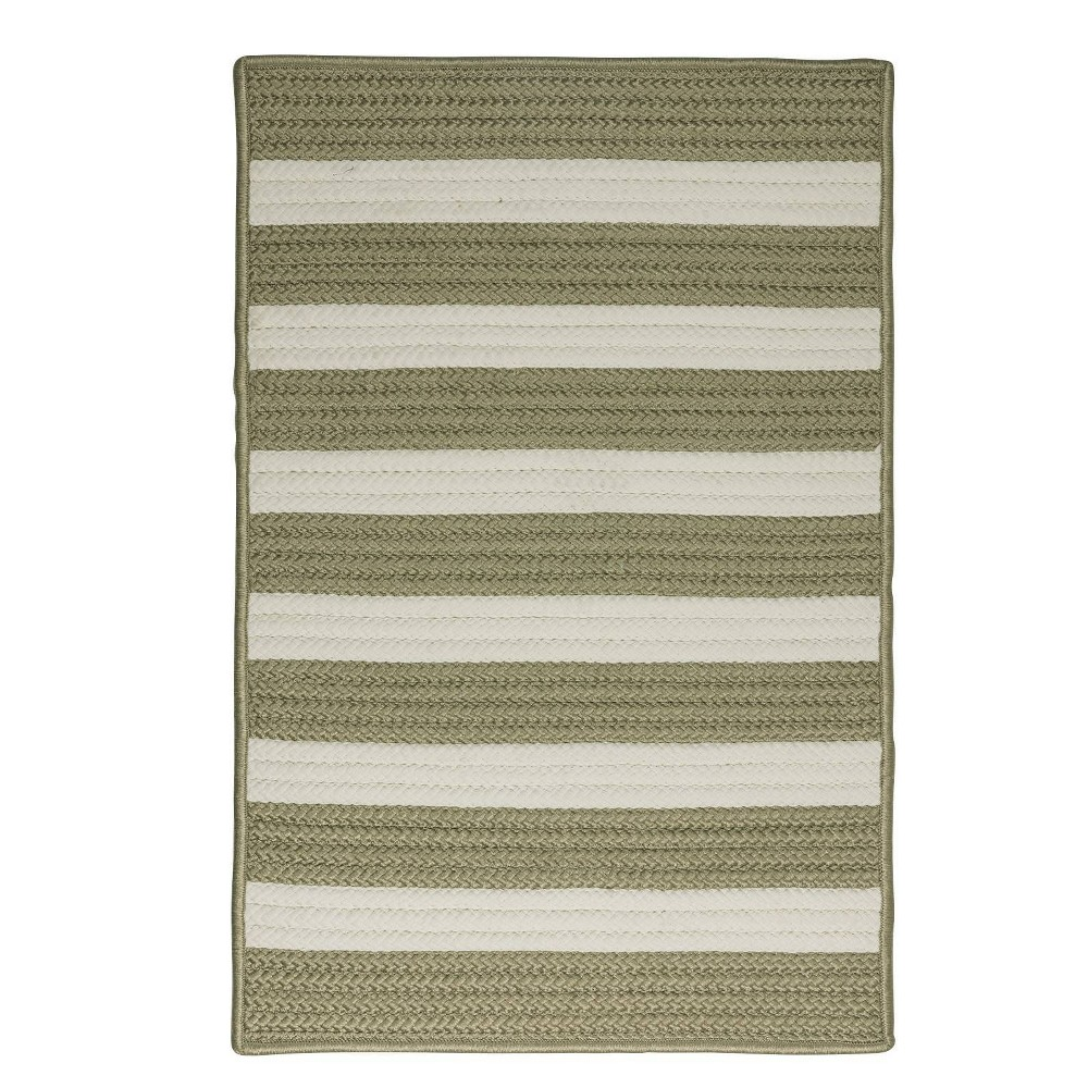 Railroad Stripe Braided Area Rug Green