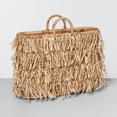 """19.4"""" x 15"""" Water Hyacinth Fringe Basket Natural - Opalhouse™ - image 1 of 2"""