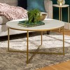 Vivian Glam X Leg Round Coffee Table Faux Marble - Saracina Home - image 2 of 4