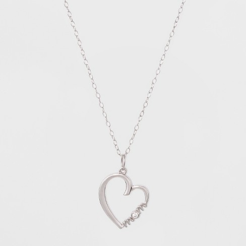 Sterling Silver Heart with MOM and 2.5mm Cubic Zirconia Necklace - Sliver/Clear - image 1 of 2