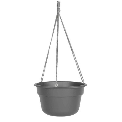 "12"" Dura Cotta Self Watering Hanging Basket Planter Charcoal - Bloem"