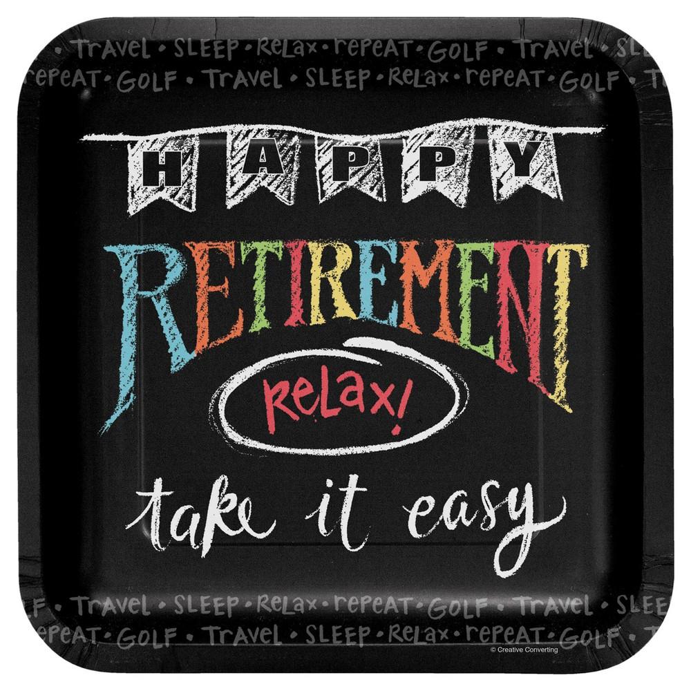 Retirement Chalk 9 Paper Plates - 8ct