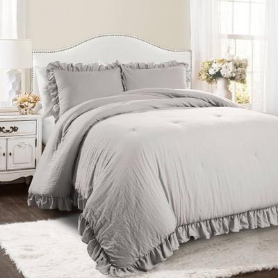 Lush Decor King 3pc Reyna Comforter & Sham Set Light Gray