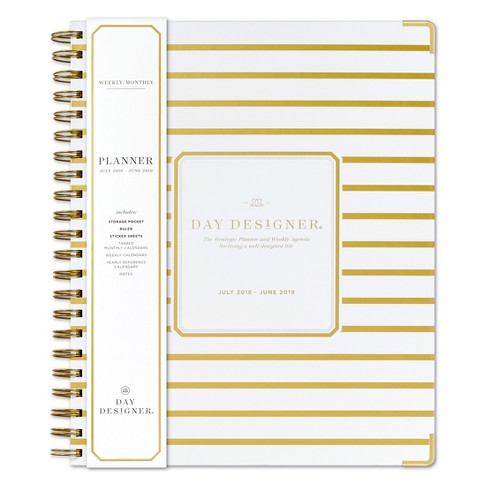 2018 - 2019 Spiral Day Designer Stripe Monthly Weekly Planner - White/Gold - image 1 of 4