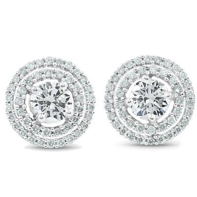 Pompeii3 1 3/4 Ct Genuine Diamond Double Halo Studs Women Earrings White Gold