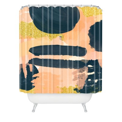 Lunch with Audrey Hepburn Shower Curtain Pink - Deny Designs