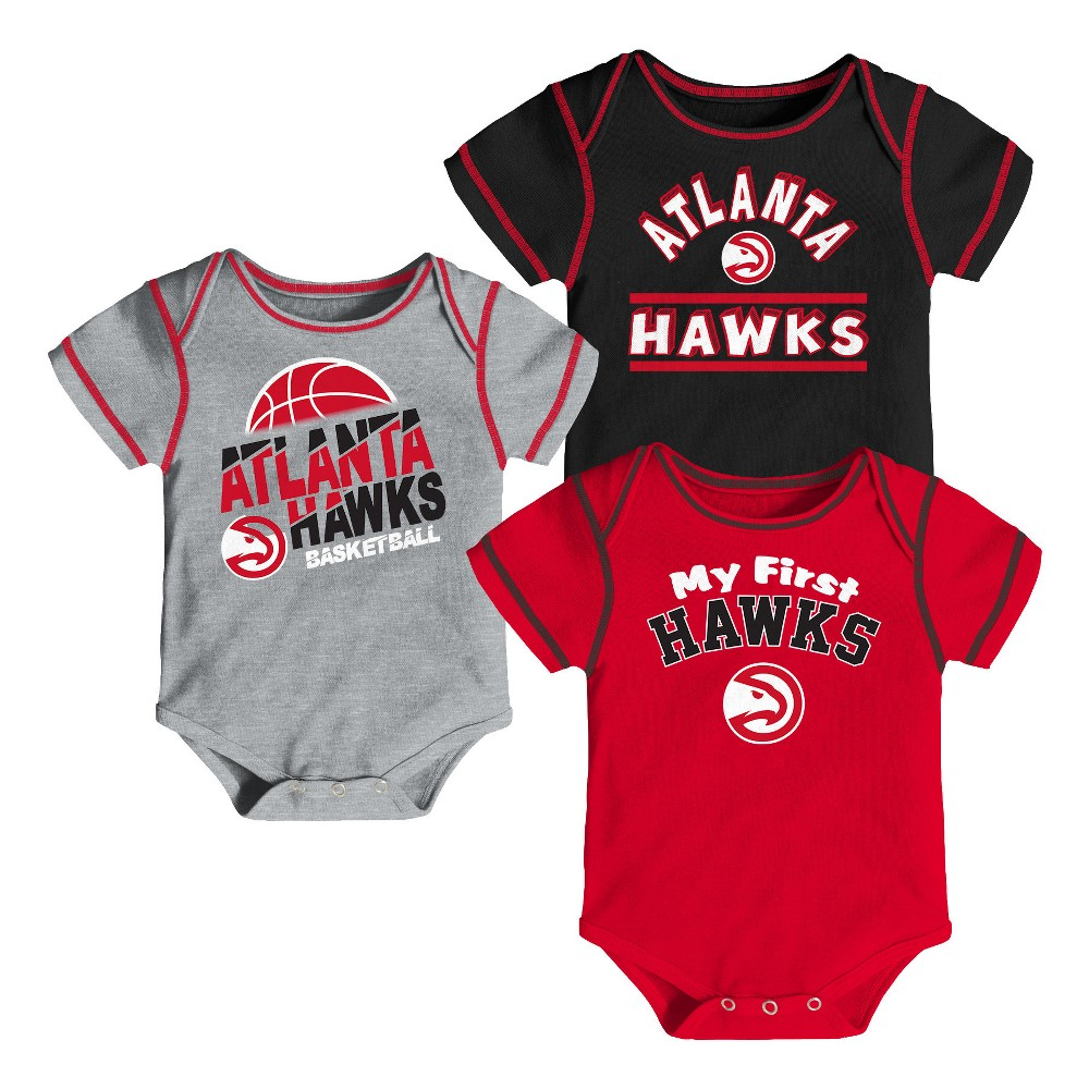 Atlanta Hawks Boys' Rookie 3pk Body Suit Set 6-9M, Multicolored