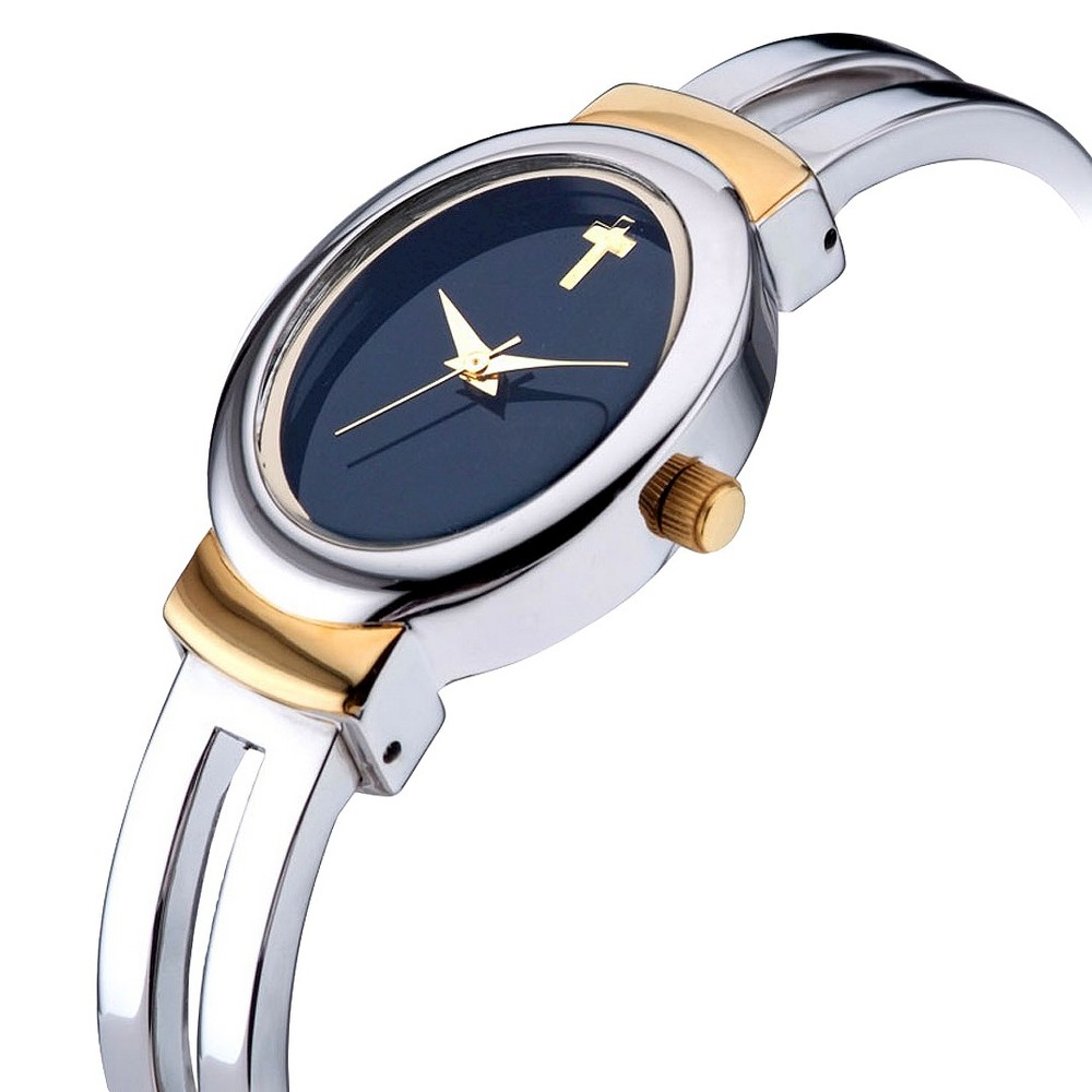 Women's Bangle Watch with Cross Dial Silver with Gold Accents - Silver / Gold