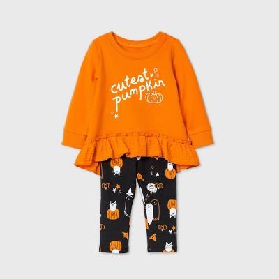 Baby Girls' 'Cutest Pumpkin' Long Sleeve Top & Bottom Set - Cat & Jack™ Orange Newborn