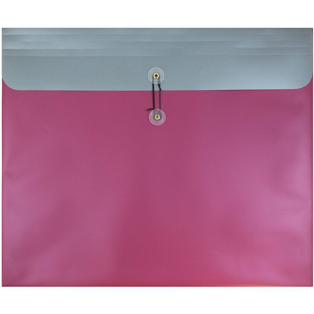 Jam Paper 15'' x 18'' 12pk Plastic Envelopes with Button and String Tie Closure - Metallic Pink