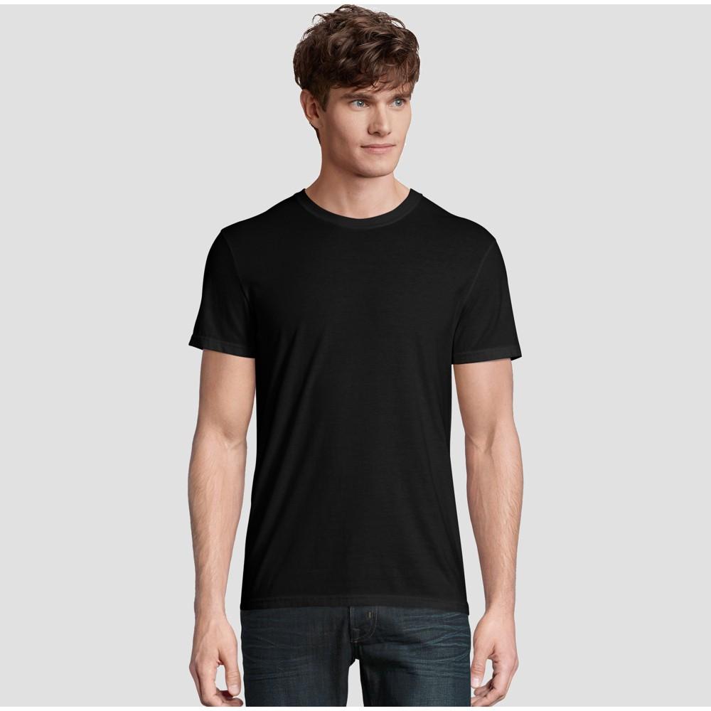Image of petiteHanes Premium Men's Short Sleeve Black Label Crew-Neck T-Shirt - Black S, Size: Small