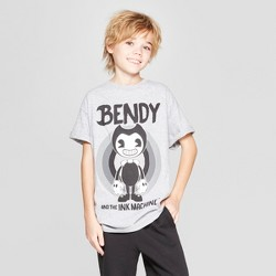 2744a2853 Boys' Bendy and the Ink Machine Short Sleeve Graphic T-Shirt - Gray