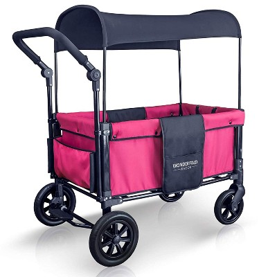 WONDERFOLD W1 Pink Multi-Function 2 Passenger Push Folding Stroller Wagon, Adjustable & Removable Canopy, Double Seats with 5-Point Harness, Pink