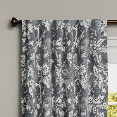"84""x50"" Stamped Floral Blackout Curtain Gray - Threshold™"