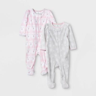 Baby Girls' 2pk Bear Print Fleece Sleep N' Play - Cloud Island™ Pink 0-3M