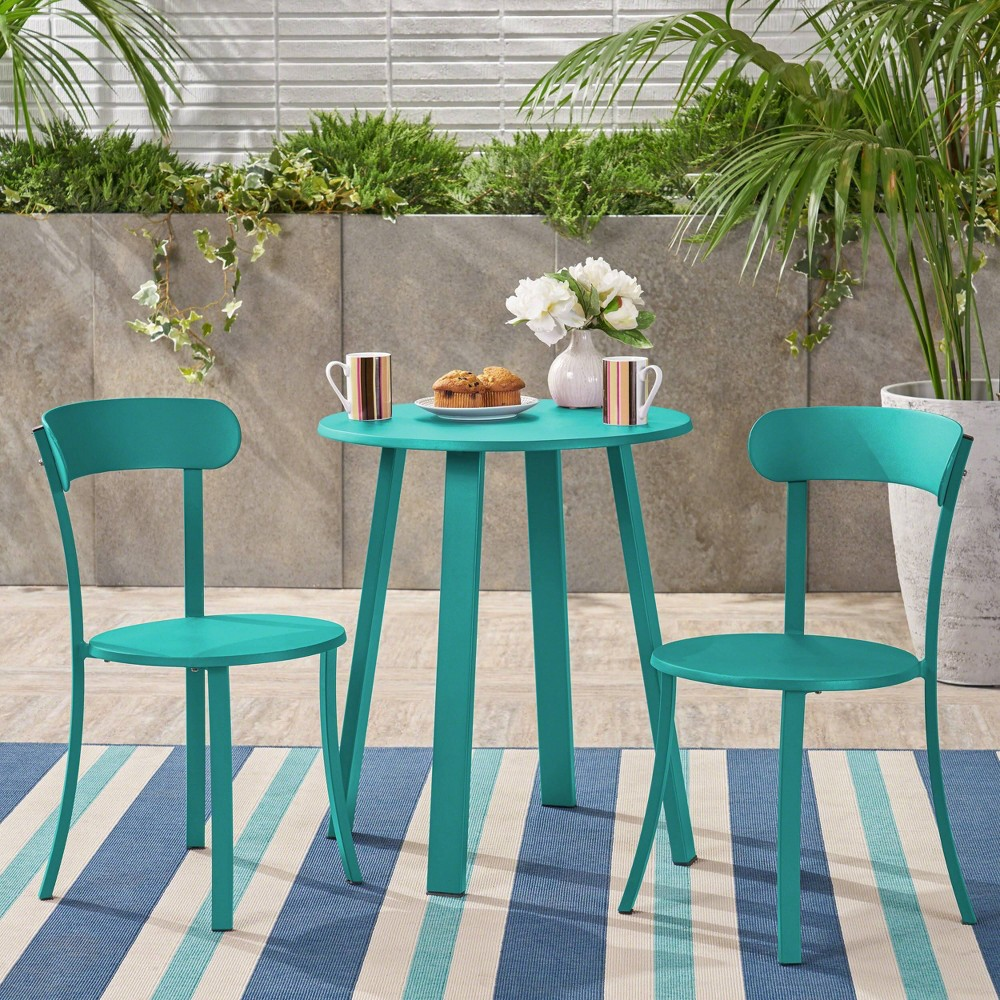 Image of Barbados 3pc Patio Bistro Set - Matte Teal - Christopher Knight Home