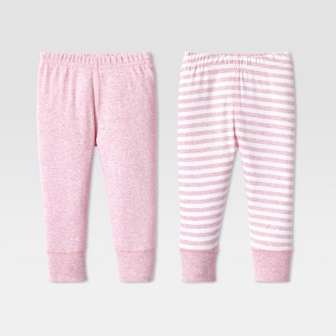 Gerber Baby Girl 2-Pack Organic Cotton Pink//Gray Pants Size 3-9M